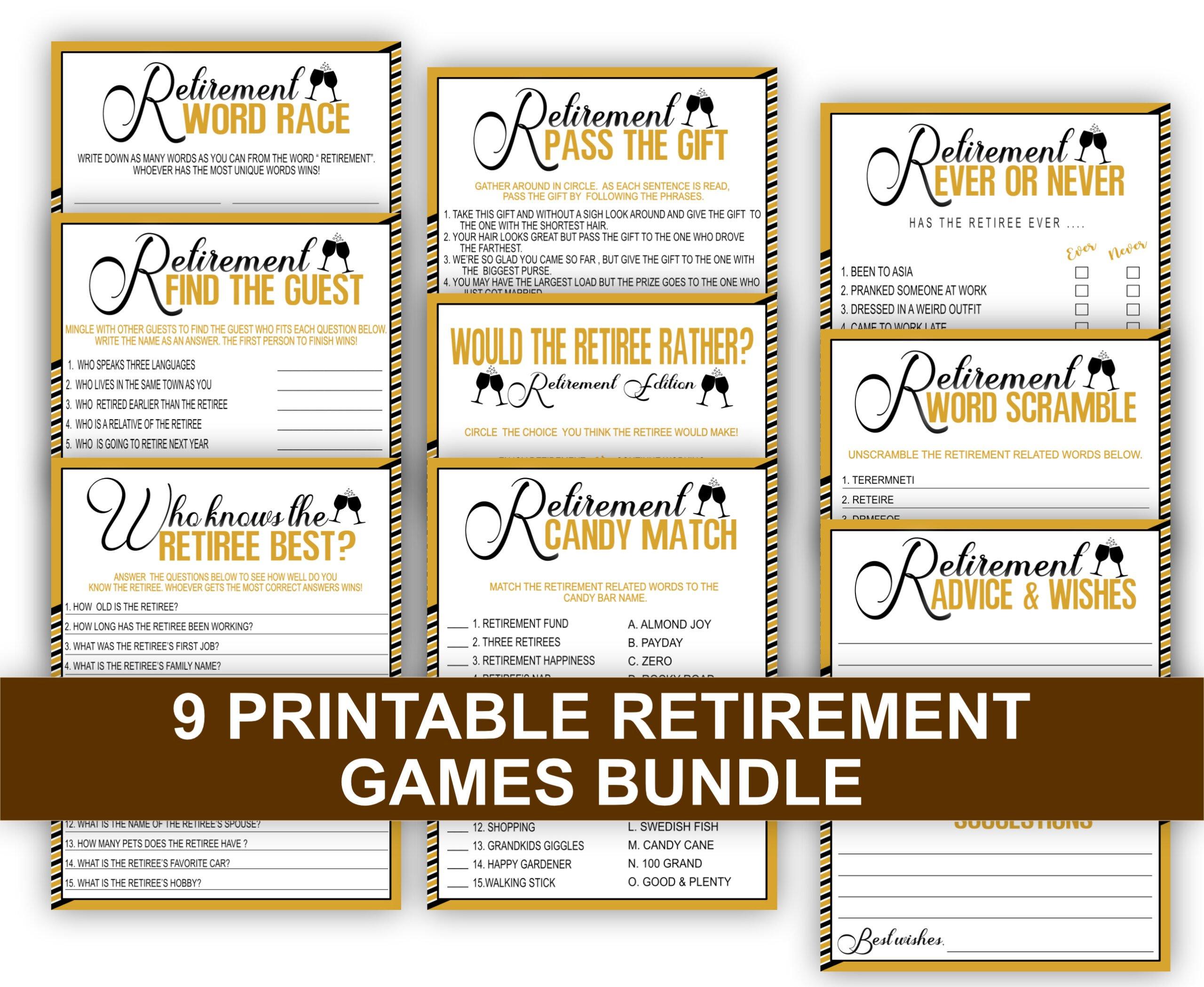 RETIREMENT GAMES RETIREMENT 9-1 Games Bundle Pack Fun