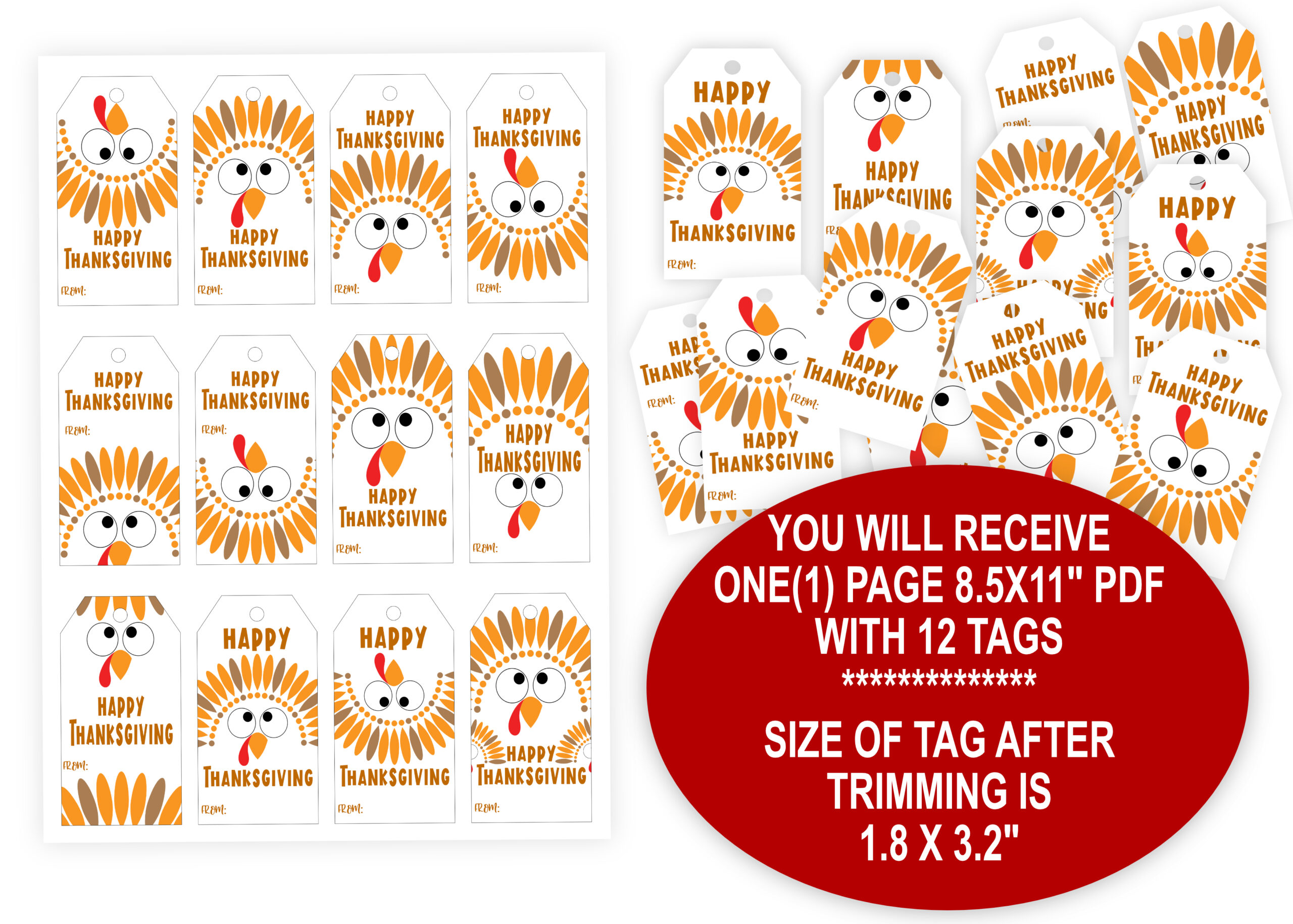 GIFT TAGS | THANKS YOU TAGS Happy Thanksgiving Tags Digital