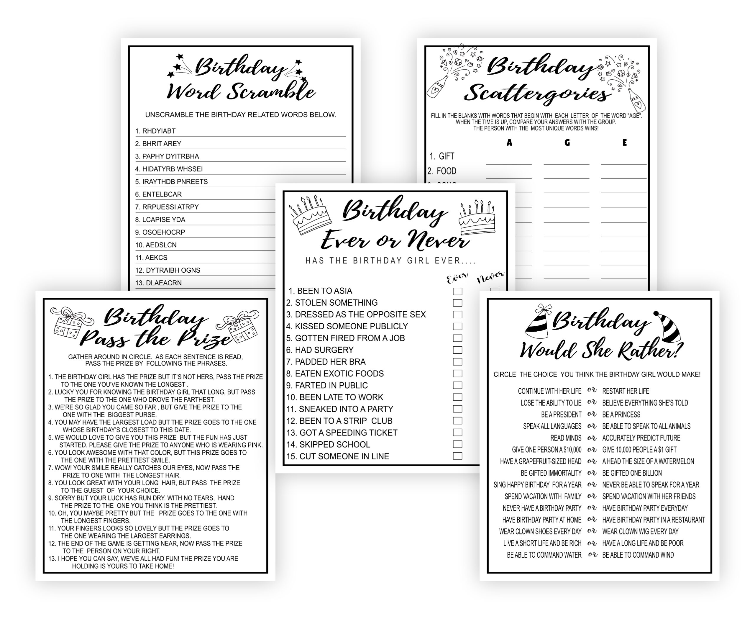 BIRTHDAY GAMES 15 PRINTABLE BIRTHDAY PARTY GAMES BUNDLE Adult Birthday Party Games