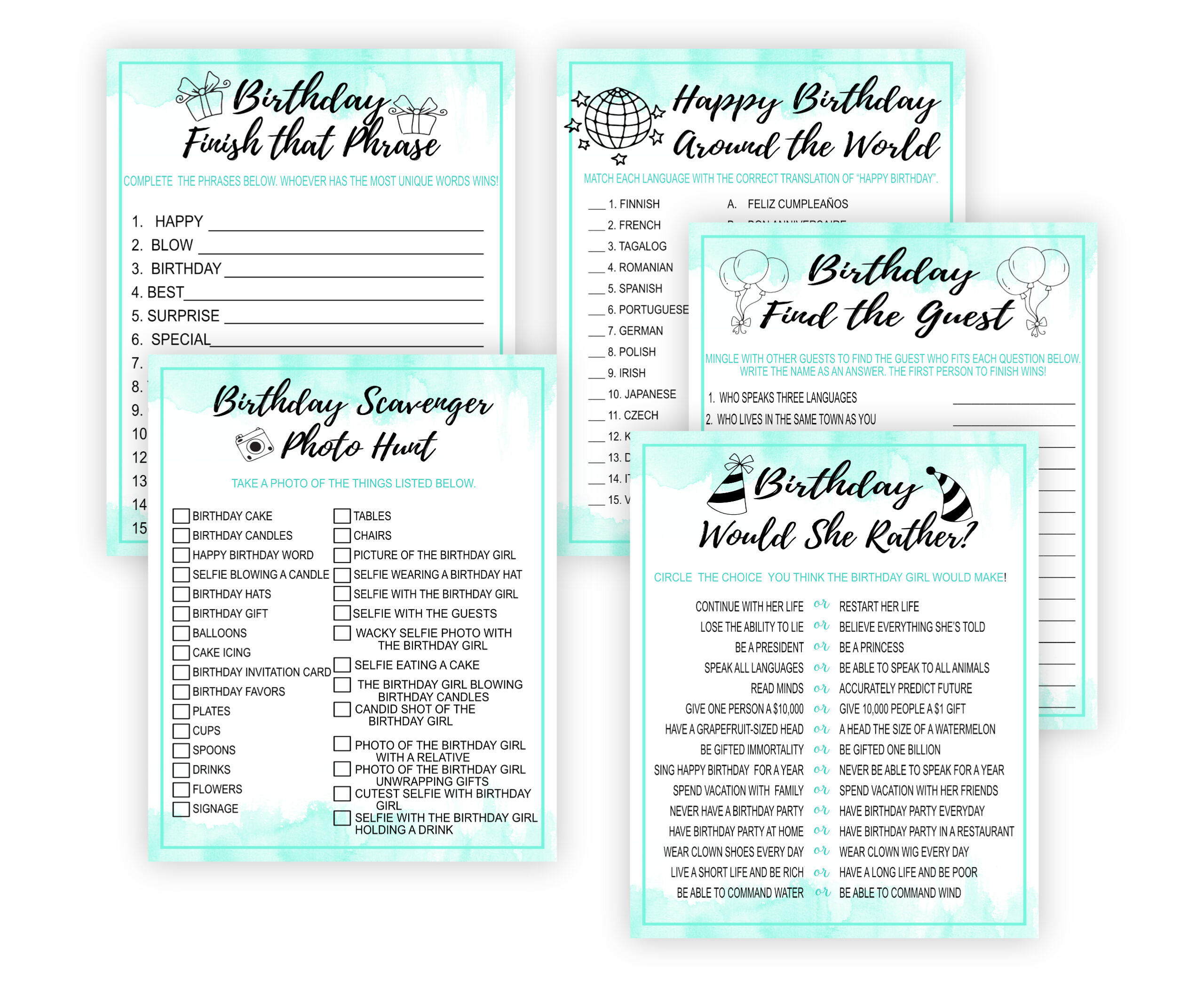 BIRTHDAY GAMES 15 PRINTABLE BIRTHDAY PARTY GAMES – MINT Adult Birthday