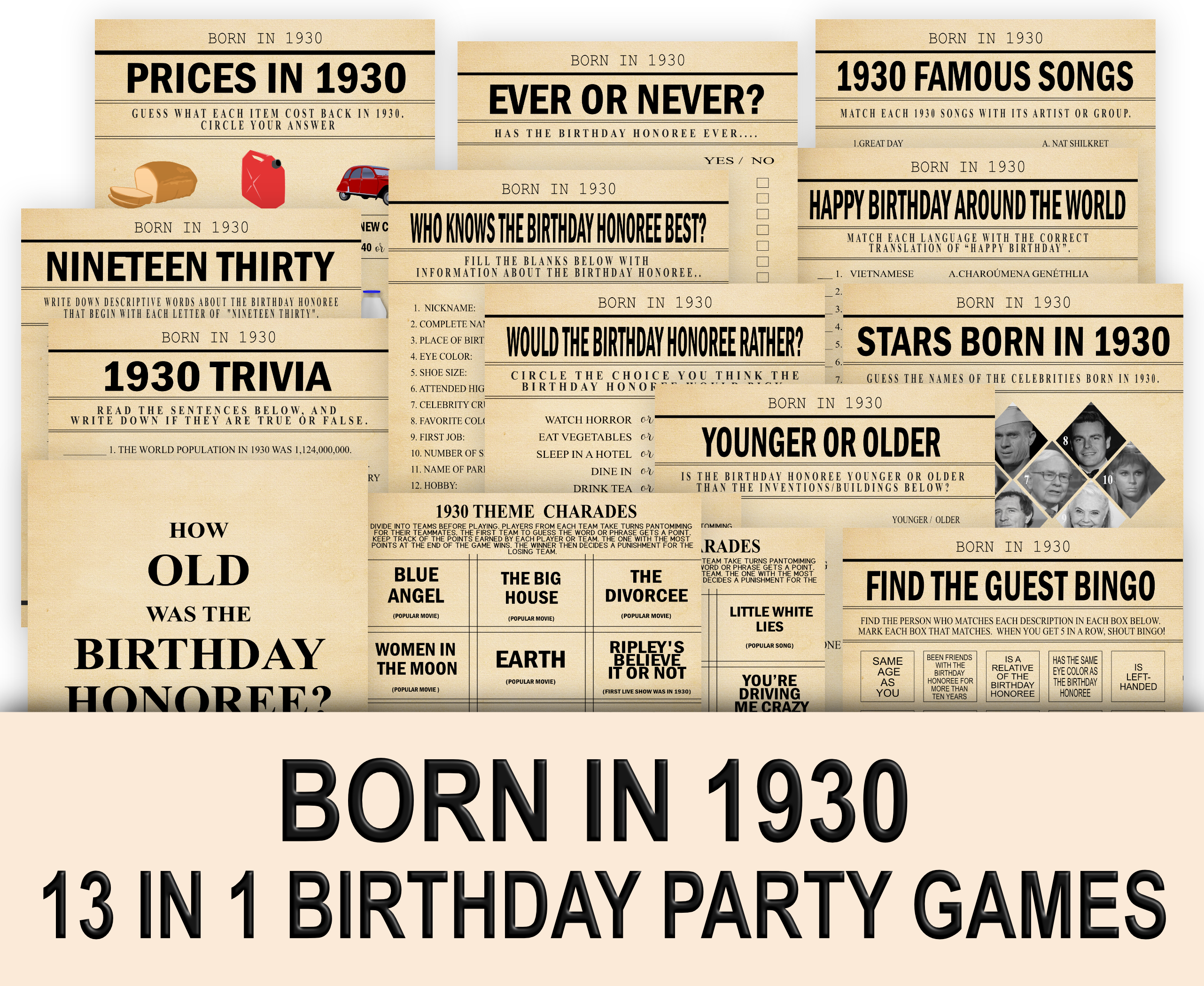 BIRTHDAY GAMES 13-1 Born in 1930 Party Game Bundle 1930