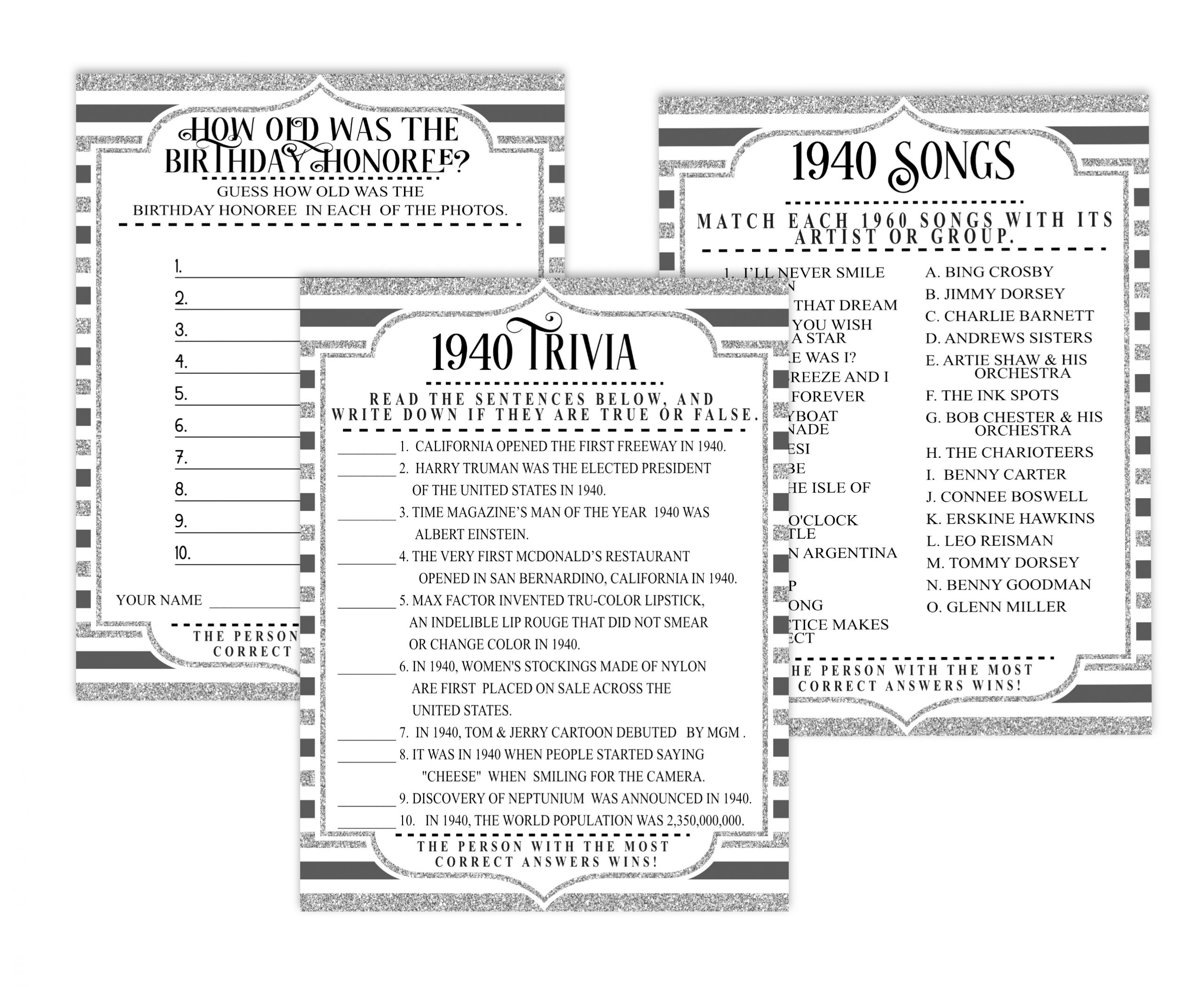 BIRTHDAY GAMES 10-1 Born in 1940 birthday party games bundle 1940 Charades Game