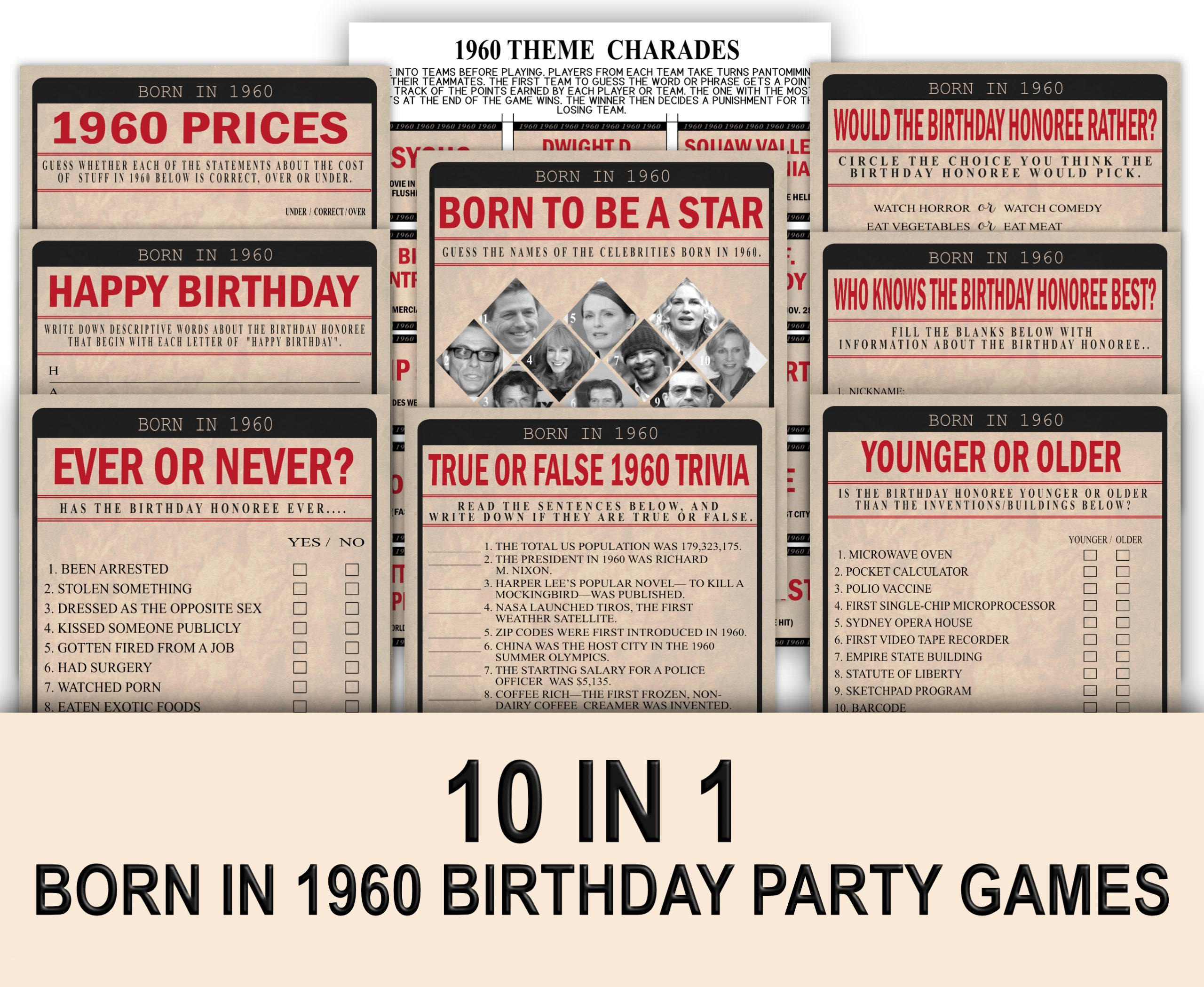 BIRTHDAY GAMES Born In 1980 Birthday Party Game Bundle Pack 1980 famous songs