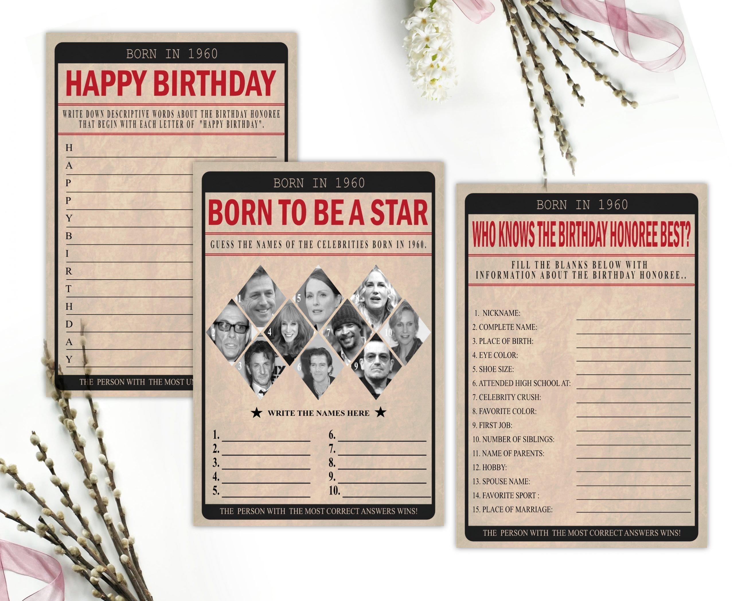 BIRTHDAY GAMES Born In 1960 Birthday Party Game Bundle Pack 1960 Birthday