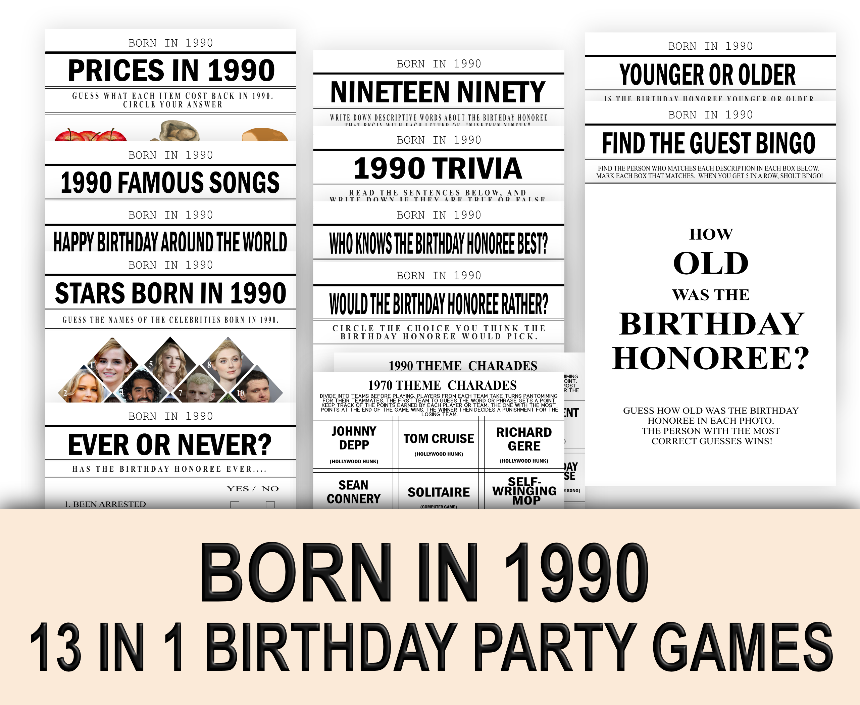 BIRTHDAY GAMES 13-1 Born in 1990 Birthday Game 1990 Charades