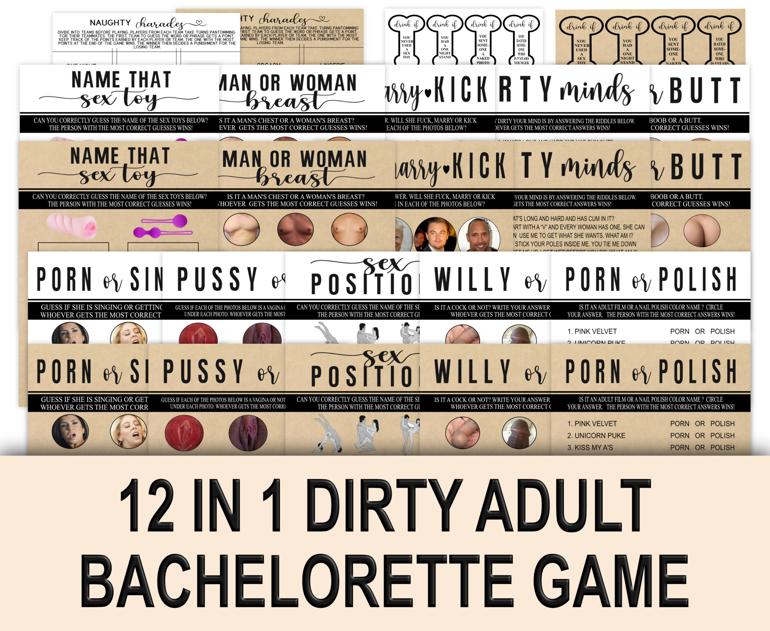 BACHELORETTE GAMES 12-1 Rustic Dirty Naughty Games Pack Hen do party games