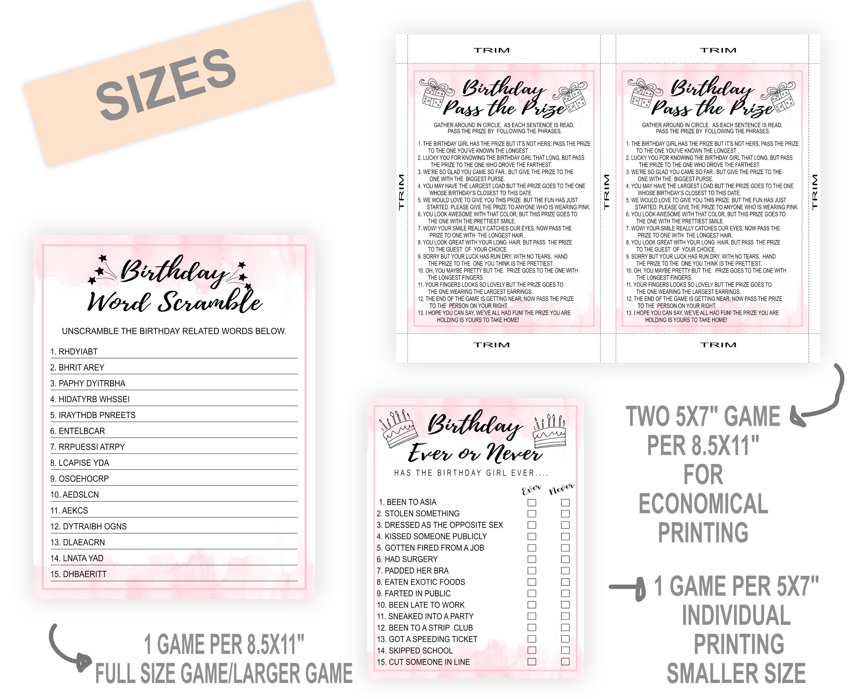 BIRTHDAY GAMES PRINTABLE BIRTHDAY GAME BUNDLE FOR WOMEN PINK 1111