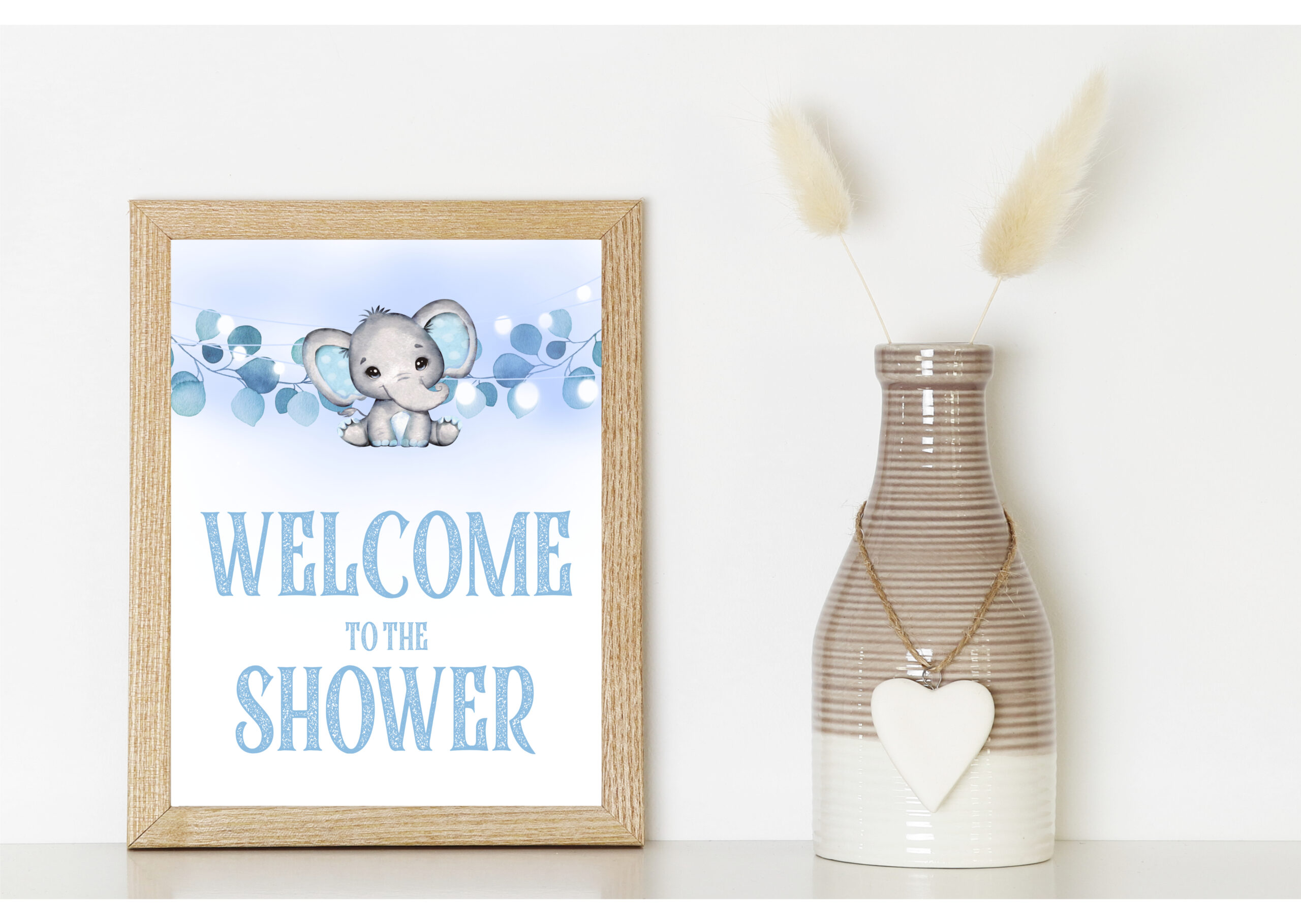 BABY SHOWER SIGNS | DECORS 9-1 BLUE ELEPHANT BABY SHOWER SIGNS BUNDLE baby blue